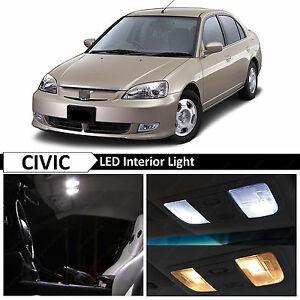 White Interior Led Light Package Kit Fit 2001 2005 Honda Civic Sedan Coupe