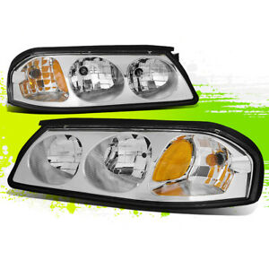 For 00 05 Chevy Impala Chrome Oe Replacement 1pc Clear Headlight Amber Corner