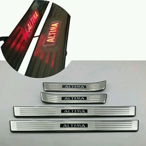 Led Red Light 4 Door Stainless Door Sill Scuff Plate For Nissan Altima 2013 2015
