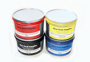 Assorted Offset Letterpress Printing Inks Black Blue Red Yellow 2 5 Lbs Each
