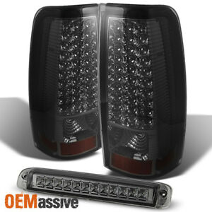 Fit 2003 2006 Chevy Silverado Gmc Sierra Led Smoked Tail Lights 3rd Brake Lamp