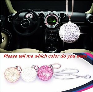 White Ablaze Crystal Ball Car Mirror Pendant Jewelry Decor Hanging Ornament