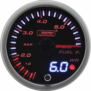 Prosport 60mm Jdm Series Amber Red White Led Warning Fuel Pressure Gauge Bar
