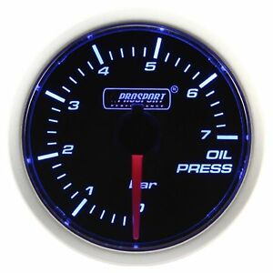 Prosport 52mm Blue White Led Smoke Face Oil Pressure Gauge Bar