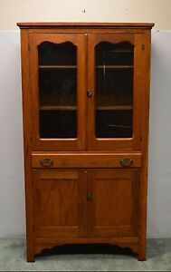 Antique Primitive Country Oak Pantry Cupboard Kitchen Cabinet Hutch