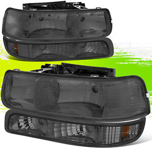 For Silverado Tahoe Smoked Oe Replacement Housing Headlights Amber Bumper Light