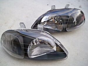 96 98 Honda Civic Ek Coupe Sedan Jdm Black Housing Headlights W Clear Reflector