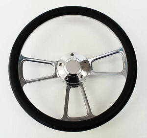 49 57 Ford Pick Up Truck F1 F100 Black Billet Steering Wheel 14 Polished Cap