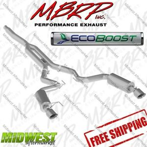 Mbrp Aluminized Performance Cat Back Exhaust For 2015 2017 Ford Mustang Ecoboost