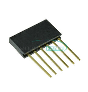 100pcs Single 2 54mm Pitch 6 pin Row Stackable Shield Female Header For Arduino