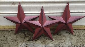 Set Of 6 Burgundy Black Barn Stars 8 Primitive Country Decor Free Shipping