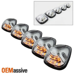 Fits Ford Superduty Pickup Clear 5pcs Amber Led Roof Top Running Cab Lights Kit