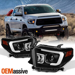 Fits 2014 2017 Tundra Sr sr5 limited trd Pro Black Drl Led Projector Headlights