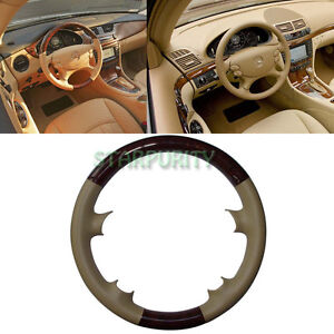 Leather Wood Steering Wheel Cover Cap Mercedes 03 09 W209 Clk R230 Sl W219 Cls