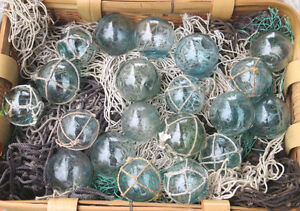 Japanese Glass Fishing Floats 2 Mixed Lot 20 10 Netted 10 W O Net Display Decor