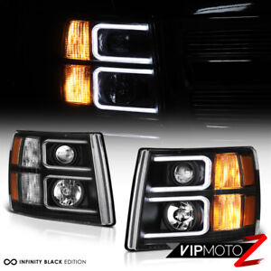 neon Optic Tube 2007 2013 Chevy Silverado Black Projector Halo Headlights Lamp