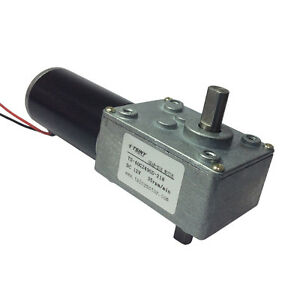 Large Torque Worm Geared Motor Dual Shaft Output Dc Motor 12v 35rpm With Robot