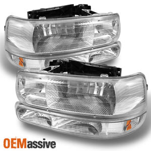 Fit 99 06 Silverado Suburban Tahoe Headlights bumper Signal Lights L r