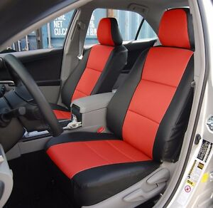 Toyota Camry 2012 2016 Black red Leather like Custom Fit Front Seat Cover