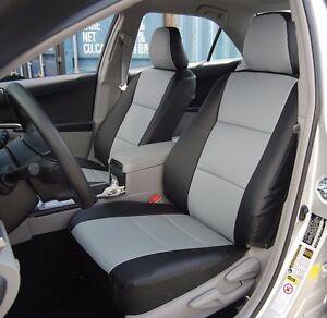 Toyota Camry 2012 2016 Black grey Leather like Custom Fit Front Seat Cover