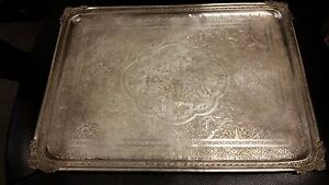 Antique Persian Iran Solid Silver Sterling Tray 16 25 X 12 1113 Grams