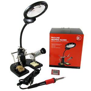Pro line Helping Hands Soldering Station W Led Light Magnifier Soldering Iron