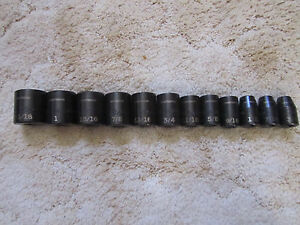 Craftsman 12pc Sae Inch Impact Socket Set Shallow 1 2 Drive 3 8 To 1 1 16 6 Pnt