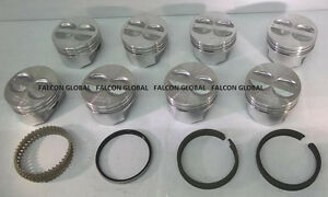 Chevy 350 5 7 Sealed Power Federal Mogul Cast Flat Top Pistons Cast Rings 30