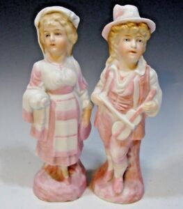 Vintage Pair Of Pink Bisque Figurines Man Woman 6 1 2 Tall