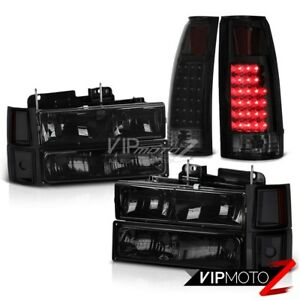 94 98 Chevy Truck Z71 Sinister Black Tail Lights Smoked Headlamps Bumper Corner