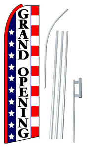 Grand Opening Stars Stripes Extra Wide Swooper Flag Bundle