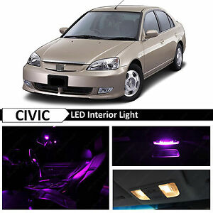 Purple Interior Led Light Package Kit Fit 2001 2005 Honda Civic Sedan Coupe