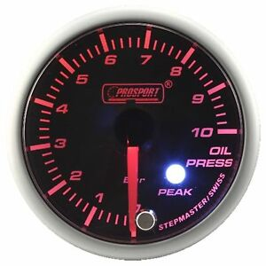 Prosport 60mm Premier Amber Red Super White Led Oil Pressure Gauge Bar