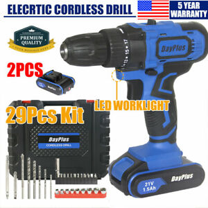 21v Cordless Tail Hammer Magnet Drill 2x Li Ion Battery Electric Drivers Tool