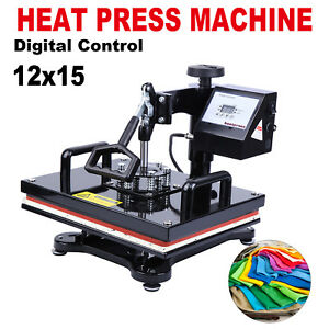 15 x12 T shirt Sublimation Transfer Heat Press Machine With Lcd Display