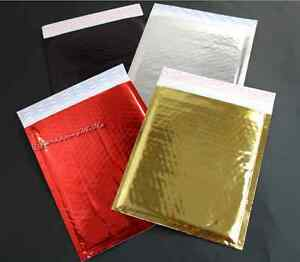 100pcs 6x10 gold silver red black Combo Pack Metallic Foil Poly Bubble Mailers