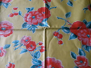 Antique Vintage Wild Roses Floral Berry Chintz Fabric Pink Coral Red Yellow