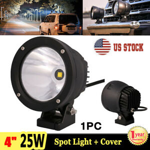1x 4 25w Led Work Light Round Spot Driving Fog Lamp Offroad 4wd Suv Atv Cover