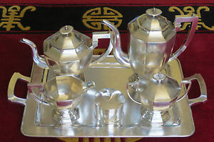 Antique Tuck Chang 6 Piece Solid Silver Coffee Service Chinese Export Shanghai