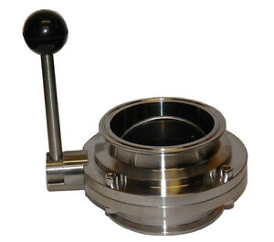 4 Bore Sanitary Butterfly Valve With 4 Tri Clamp Fittings And Pull Handle