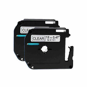 Black On Clear Tape For Brother 12mm M k131 Mk131 Pt 65 P touch Label Maker 2pk