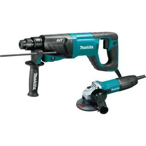 Makita Hr2641x1 Sds plus Avt Rotary Hammer With Case And 4 1 2 Angle Grinder