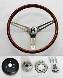 70 77 Mustang Torino Maverick 15 Wood Steering Wheel High Gloss Grip Cobra Cap