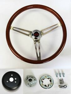 High Gloss Real Wood Steering Wheel To Fit Ididit Column 15 With Red black Cap