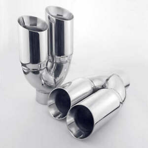 2pcs 3 Inch 3 1 2 Dual Out Quads Double Wall Angle Cut Round T304 Exhaust Tips