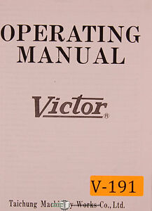 Victor 1640 1660 1680 2040 2060 2080 Lathe Operations And Parts Manual 1978