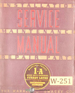 Warner Swasey 1 a M 470 Turret Lathe Service And Parts Manual 1941