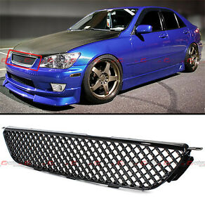 Vip Glossy Blk Jdm Diamond Front Hood Mesh Grill Grille For 2001 05 Lexus Is300