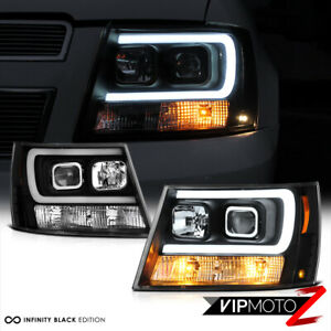 07 14 Chevy Suburban Tahoe Black Led Neon Tube Drl Projector Headlight Lamp Pair