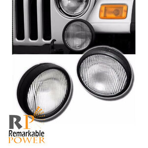 Driving Front Fog Lights Bumper Lamps Kit Clear Fits 03 06 Jeep Wrangler